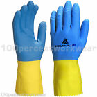 2x Delta Plus DUOCOLOR 330 Work Safety Latex Cleaning Gauntlet Gloves Waterproof