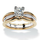 PalmBeach CZ Gold Overlay White Square-cut Cubic Zirconia Engagement Ring
