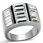 Mens Three Row Square Crystal Set Silver Stainless Steel Ring