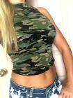 Camo CROP TOP Camouflage TURTLE Mock Neck sleeveless shirt cotton S M L
