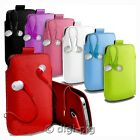 COLOUR (PU) LEATHER PULL TAB POUCH CASE & EARBUD FOR MOST HTC MOBILE PHONES