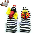 New Infant Baby Ladybug Bee Foot Socks Rattles Feet Finder Play Grow Toys