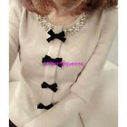 Fashion Sweet Ladies's Knitwear Beads Neckline Bow T-shirt 1PC