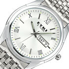 EYKI Classic Men Day Date Silver Stainless Steel Band Quartz Wrist Watch