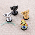 Set of TWO Korean PUNK Fashion Fox Face Studs Earrings Fine Stainless Steel