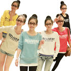 Women Casual Crewneck Letter Long Sleeve Pullover Sweatshirt T-Shirt Tops Sweats