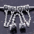 Lot_Fashion Safety Chain European Flower Charms Beads Fit DIY Bracelet