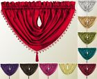 LUXURY DESTINY FAUX SILK BEADED TASSLED VOILE SWAG Curtain Drapes Pelmet Valance