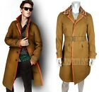 $2,495 RUNWAY BURBERRY PRORSUM MENS TRENCH COAT LEATHER TRIM RAFFIA COLLAR