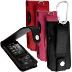 Leather Flip Case Cover Holder for Sony Walkman NWZ-E585 Screen Prot & Carabiner