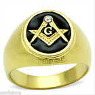 Masonic Mason Oval Black 18kt Gold Plated Stainless Steel Ring