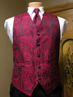 Vest Apple Red Paisley Full Back Neck Tie Tuxedo Steampunk Wedding Prom Majestic
