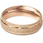 6MM Brushed Wedding Band 14K Rose Gold Mens Bridal Ring Size 7-12