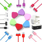 COLOR USB MAINS CHARGER + DATA CABLE FOR IPHONE 3G 3GS 4 4G 4S IPOD TOUCH NANO