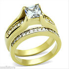 18kt Gold Plated Steel 1.4ct Princess Cut CZ Raised Setting  Wedding Ring Set
