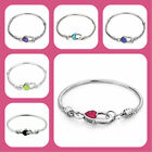 Pugster Pink Heart Lock Silver Snake Chain European Bracelet Charms Birthstone