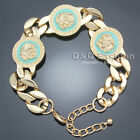 Egyptian Triple Medusa Head Medallion Cuban Curb Chain Greek Key Bracelet Bangle