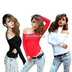 Sexy Casual Girl Women's Off-Shoulder Skintight T-shirt Tops Blouse Cropped Top