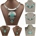 Vintage Turquoise Butterfly Tribal Collar Bib Statement Pendant Necklace TZ219