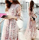 Boho Elegant Women's Soft Chiffon Floral Printing Maxi Long Skirt Pleated Dress