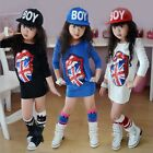 Lovely Kids Girls Long Sleeve Top Big Tongue Flag Sequin Dress Mini Dress 2-7Yrs
