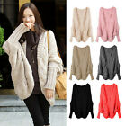 Open Front Knitted Cardigan Batwing Sleeve Asymetry Hem Loose Casual Top Sweater