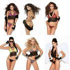 Sexy Green Red Black Animal Fly Away Baby Doll Cami Top with G String Set S/M