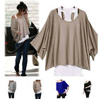 2014 NEW Fashion Women Loose Batwing Short Sleeve T-shirt Tank Tops Vest Twinset
