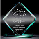 Personalised Cube Jade Glass Achievent Award Trophy, Laser Engraved Text & Logo