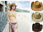 Unisex Western Style Wide Brim Summer Hat Men Cowboy Hat Straw Beach party Cap U