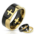 316L Stainless Steel Men's Two Tone Cross Puzzle Band Ring Size 9-14