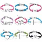 Unisex Women Men Jewelry Leather Bangle Infinity Bracelet Silver Friends Family
