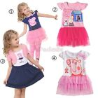 Girls Baby Kids Princess Peppa Pig Top Tutu Dress T-shirt Bow Tulle Clothes 1-6Y