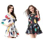 Lady/Women Vintage Floral Bird Printed Retro 3/4 Sleeve Club Party Mini Dress -S