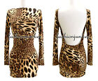 E2 LEOPARD PRINT SEXY BACK Open Backless Mini Dress Boat Neck Long Sleeve S M L