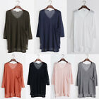 New Women V-neck Casual Pullover Irregular Pocket candy Knit Jumper Sweater Tops