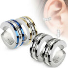 Surgical Stainless Steel Edge Color Strips Hoop Clip On Earrings (Choose Color)
