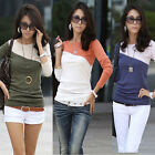 New Women Ladies Casual Long Sleeve T-shirt Mixed Color Splice Crew Neck Top Tee