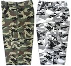 MENS SHORTS CARGO COMBAT ARMY CAMOUFLAGE 3/4 LENGTH BNWT