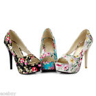 Women's Peony Floral Fabric High Heel Shoes Platform Peep Toe Pumps US Size D097