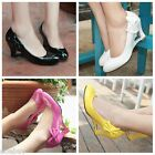 Women's Fashion Wedge Heel Wedding Shoes Bow Synthetic Leather Pumps US Sz D022