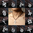 New Fashion Mens Black&Silver Stainless Steel cycle Pendant Necklace Chain Hot