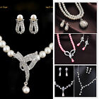 Jewelry Sets Pearl Faux Crystal Rhinestone Bead Necklace Earrings Wedding Bridal