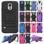 Samsung Galaxy S5 COMBO Holster with Hard HYBRID KICK STAND Rubber Phone Case