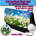 PERSONALISED WOMENS DAISY FLOWER MAKE UP BAG COMPACT MIRROR LADIES GIFT 015