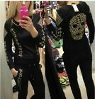 Sportswear Spike Rivet Skull Hoodie Sweatshirt Sweater Suit Outfit Top Pants Set