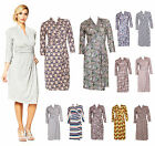 Womens Wrap Floral Paisley Print Jersey Casual Sleeve Business Dress UK 6 - 20