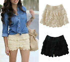 Lady`s  Crochet Tiered Lace Shorts Skorts Short Pants 2 Colors