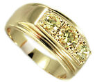 Three Topaz Yellow Color Stones 18kt Gold Plated Mens Ring