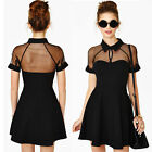 Sexy Women Mesh Cutout Mini Dress Sweetheart Neckline Summer Short Sleeve Dress